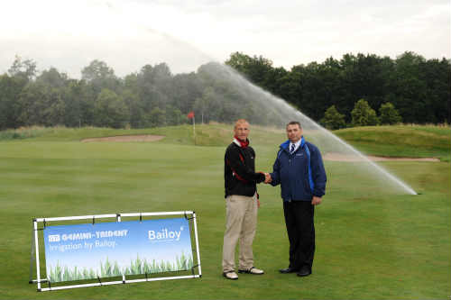 Buckinghamshire Golf Club course manager Andy Ewence, left, with Bailoy's managing director Adam Lovejoy - image:  Bailoy