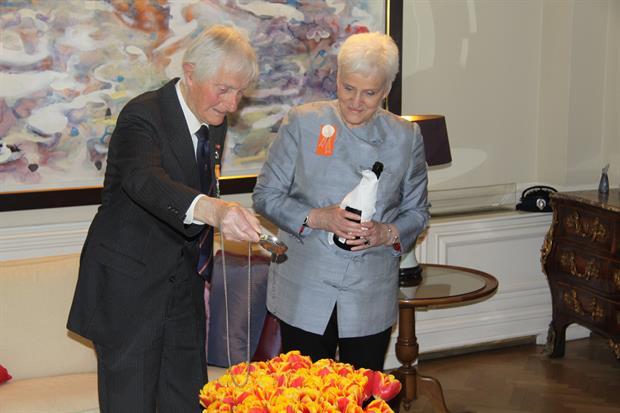 Dutch Ambassador Ms Laetitia van den Assum and Major (Retd) Kenneth George Mayhew RMWO