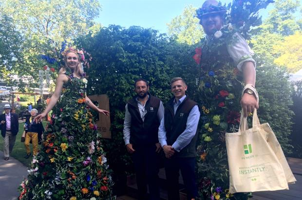 David Binks (left) and Charlie du Pre with stiltwalkers at RHS Chelsea. Image: HW