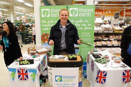 Grower Addy Breugem promotes the season's first cucumbers - image: Thanet Earth