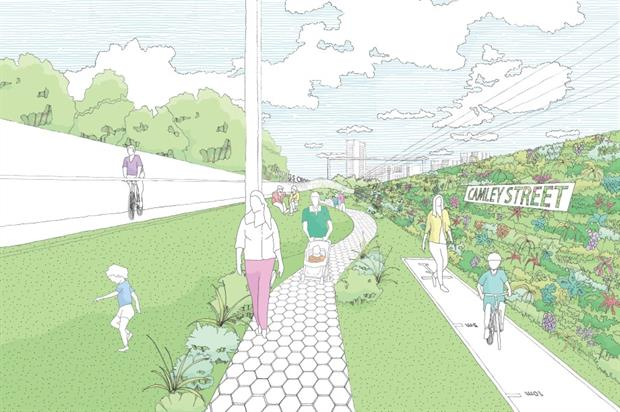 Artist's impression of part of the Highline. Image: Studio Weave and Architecture 00