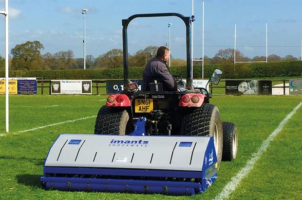 Imants Shockwave: Campey Turf Care Systems machine used to deal with compaction on the playing surfaces at Sandbach RUFC - image: Campey Turfcare Systems