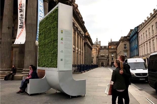 A CityTree installed in Glasgow. Image: Green City Solutions