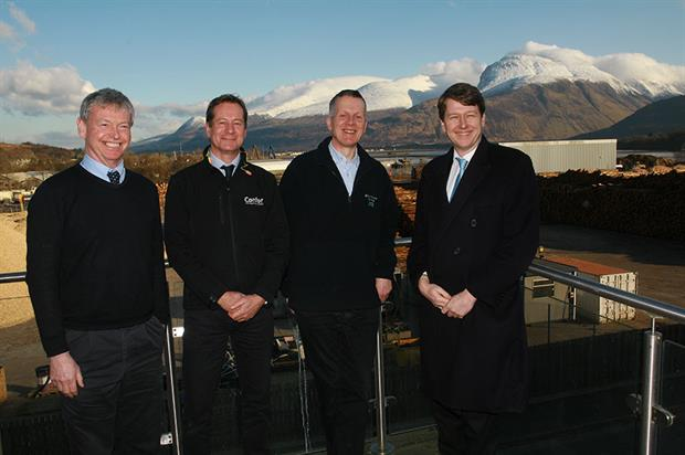 L-R: Hamish Macleod, Head of Public Affairs at BSW Timber; Stuart Goodall, Chief Executive of Confor: promoting forestry and wood; Andy Rogers, Mill Manager at BSW Fort William; and Robin Walker MP, Parliamentary Under Secretary of State at the Depar