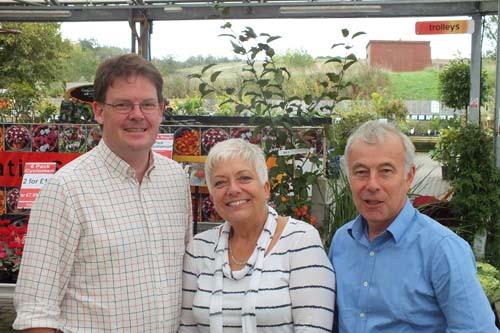 Garden Re-Leaf team - Hillview Garden centre CEO, Boyd Douglas-Davies, Sue Allen of Millbrook Garden Company & Greenfingers chairman, Richard Jackson at Poplars Garden centre - image: Greenfingers