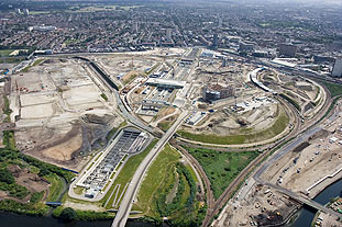 Changing skyline: aerial view of the site for London's planned Olympic Park, with Stratford International station at the centre. Image London 2012