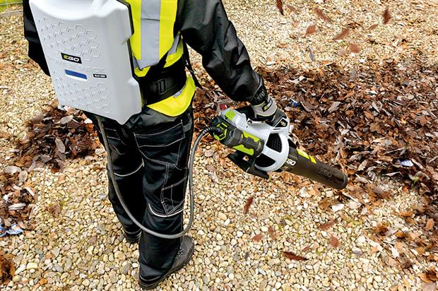 EGO backpack blower: can run for two hours and features padded adjustable harness - image: EGOPower+