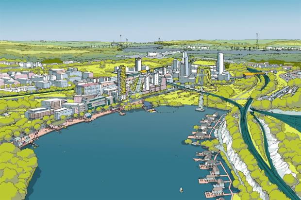 Artist impression of the Ebbsfleet masterplan. Image: Ebbsfleet Development Corporation
