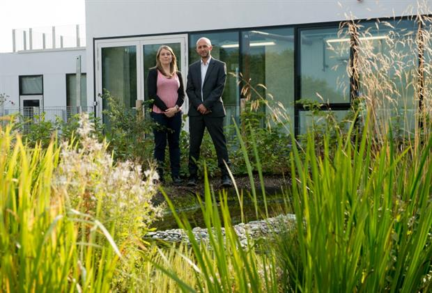 Adele Brooks and Ed Wall in the wetland roof garden