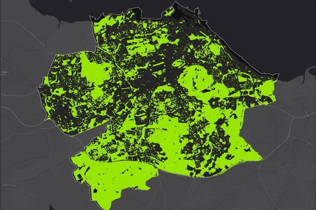 Nearly half of Edinburgh is green space. Image: Esri UK