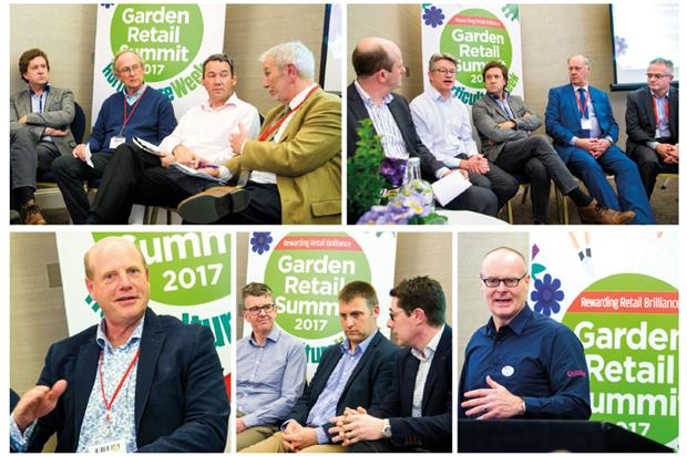 Summit (clockwise from top left): growers' panel, Brexit, John Cleland, garden centre growth and Paul Cooling - image: HW