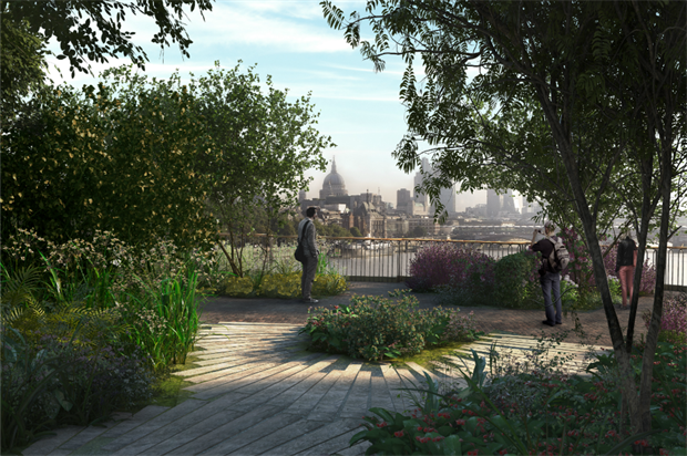 Expected view of St Paul's from the bridge. CGI by Arup.