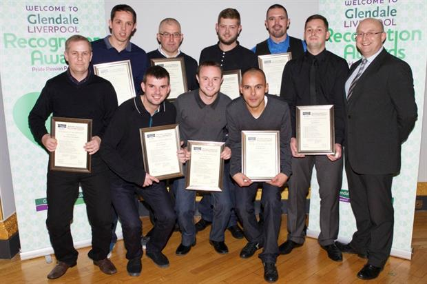 Graduating apprentices with Glendale managing director Andy Corcoran (far right)