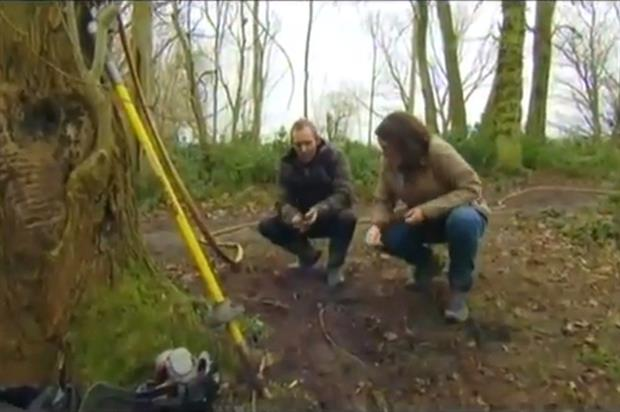 Percival discussing biochar amendments to ash trees with chief plant health officer Nicola Spence on BBC's Countryfile last year