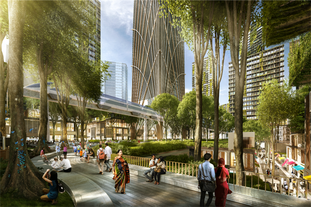 The 'green heart' of the development. Image: Architect SOM