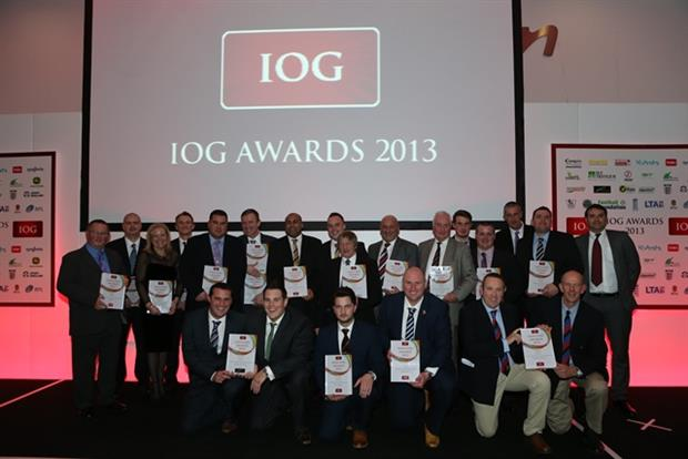 The full group of winners at the 2013 IOG Awards