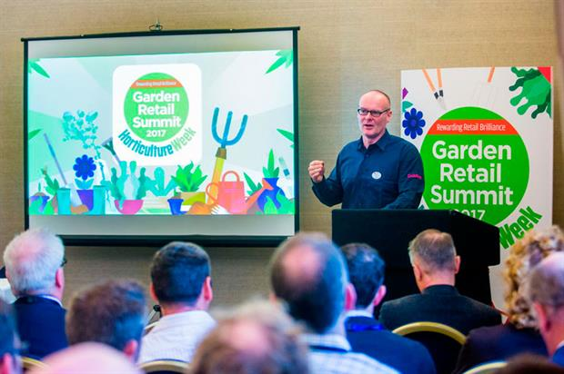 Dobbies CEO John Cleland at the 2017 Garden Retail Summit - image: HW