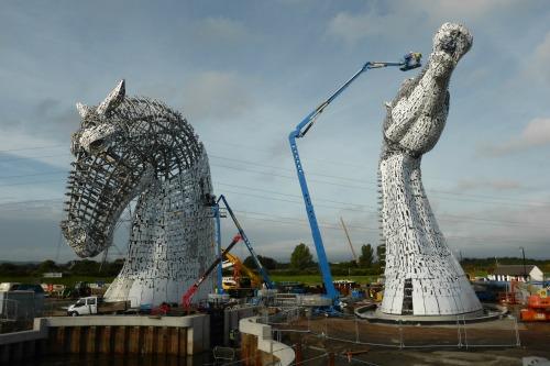 The Kelpies under construction