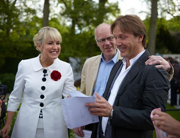 Special moment: Luciano Giubbilei (right) with Laurent-Perrier managing director David Hesketh and BBC presenter Nicki Chapman