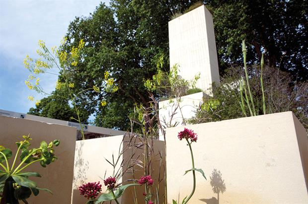M&G garden: demonstrates use of stone structures - image: HW