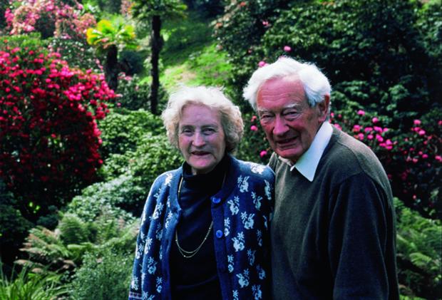 Major Hibbert with his wife Eira in Trebah Garden