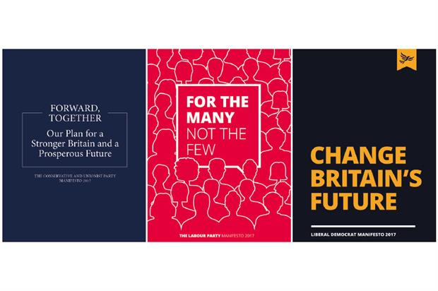 Conservative, Labour and Liberal Democrat manifestos