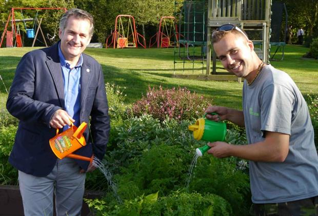 Matthew Wilson (left) and designer Matthew Eden get watering