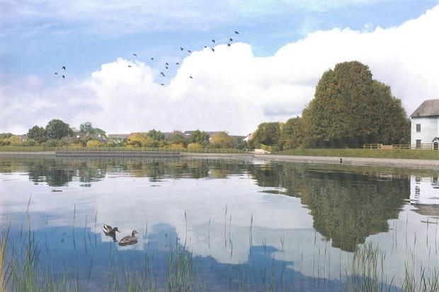 A visualistaion of how the dam and Mill Pond will look after restoration