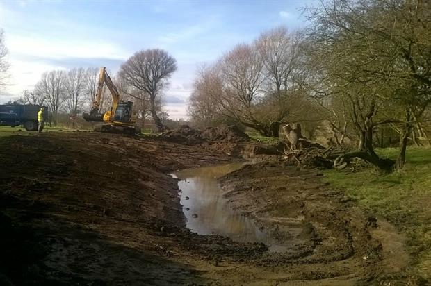 The Parks Trust team at work creating the back water
