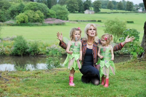 Joanna Lumley with two 'Tinkerbell' fairies in Moat Brae grounds