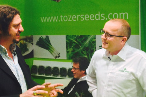 Jay Rayner (left) and David Rogers at the Tozer stand - image:Tozer Seeds