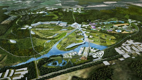 Arial view of the Park Russia masterplan designed by Gillespies (photograph copyright Gillespies)