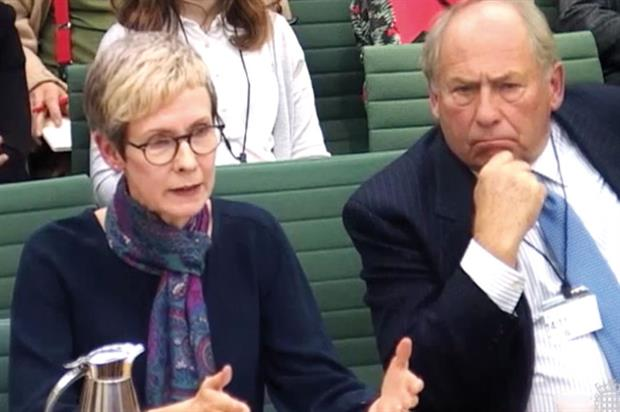 Town & Country Planning Association projects and operations director Julia Thrift and Landscape Institute president Denton-Thompson at the second public sitting of the parks inquiry in November - image: Parliamentlive.tv