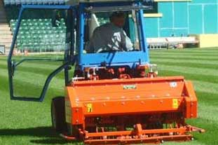 Wiedenmann Terra Spike GXi 9 aerator at work on Plymouth Argyle FC's pitch - photo: Plymouth Argyle FC