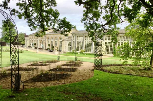 Just add sun: the completed rosarium, with Custodian Awards venue The Sculpture Gallery behind. Image: Woburn Abbey Gardens