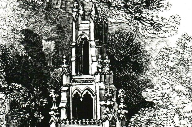 Part of a 19th Century sketch of Stowe House's Gothic Cross. Image: National Trust