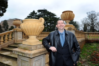 Councillor Duncan Crow shows off the completed work at Worth Park