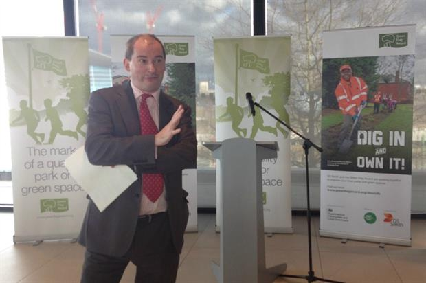 Minister for parks Stephen Williams speaking at the launch