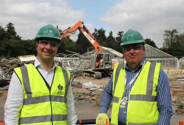 (left to right) Steve Edwards and Andrew Scattergood oversee the demolition of the 1960s nursery