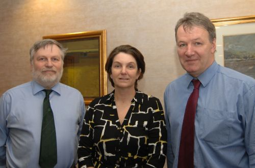 Professor Spence flanked by Northern Ireland's Forest Service chief executive Malcolm Beattie (L) and AFBI chief executive Professor Seamus Kennedy