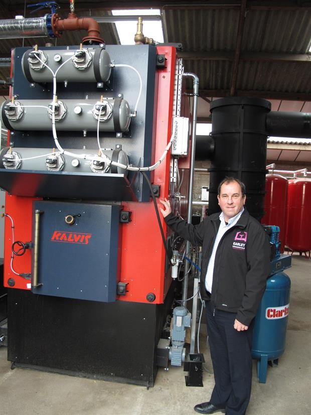 Simon Earley with the biomass system