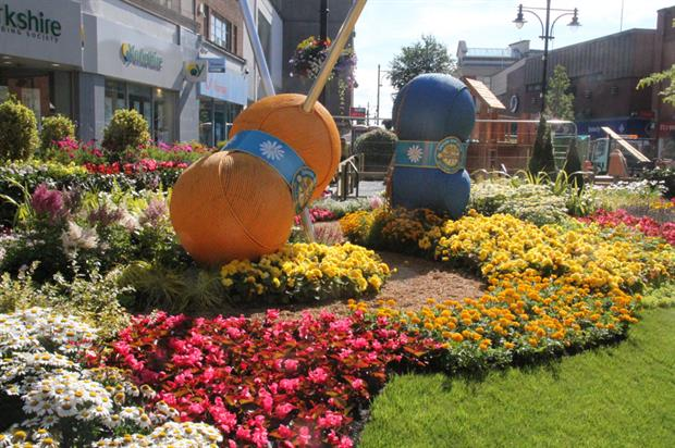 Gold medal-winning In Bloom garden in its original setting in Oldham town centre - image: Oldham Council