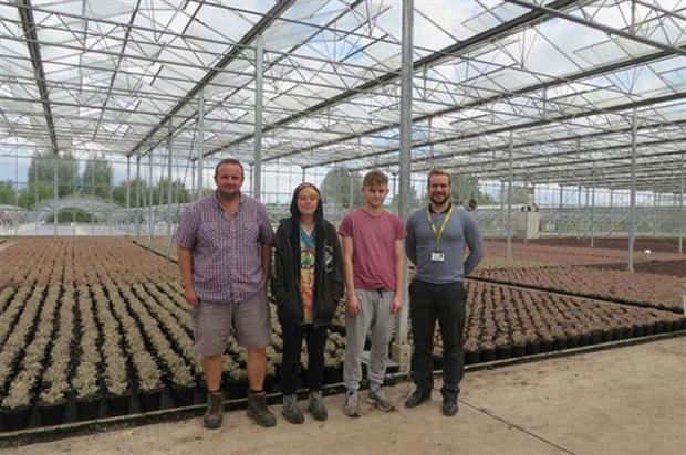 Karl O'Neill (Propagation and Technical Manager, and mentor to the apprentices), Poppy Griffin, Thomas Everard and Mark Diggines (Trainer Assessor, Pershore College) - image: Bransford Webb