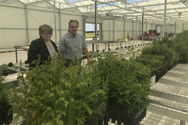 Therese Coffey with Alan Harrison, Head of Plant and Seed Supply at the Forestry Commission
