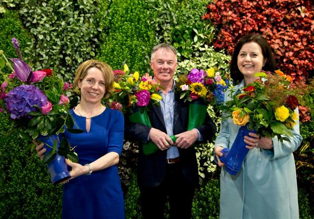 Bord Bia CEO Tara McCarthy, Bloom show manager Gary Graham and show sponsor FBD's Fiona Muldoon