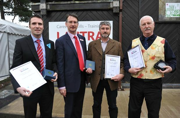 Winners and runners-up with LANTRA's Kevin Thomas: (From left) Mark Horsman, Development Manager for Fruitapeel, Kevin Thomas, Wales Director for sector skills council Lantra, Charles Warner of Quinky Young Plants, and Old Monty Cider's John Jenkins,