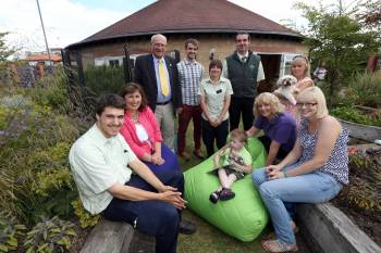 Seated L-R - Ben Henderson, Apprentice, Stockton Garden Centre; Kathryn Best, Marketing & PR Manager, Garden Centre Group; Adam Butterfield, 4, patient at Butterwick House Children's hospice (on bean bag), Alison Appleby, Clinical Lead, Butterwick Ho
