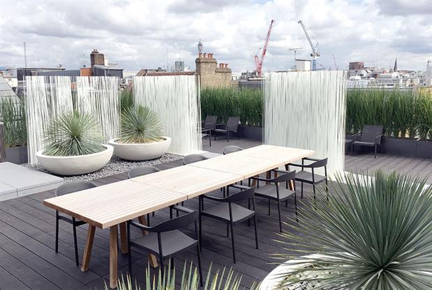 The Outdoor Room's work on a Mayfair roof terrace
