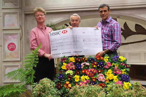 Hayloft donate to Richard Jackson of QVC (centre)
