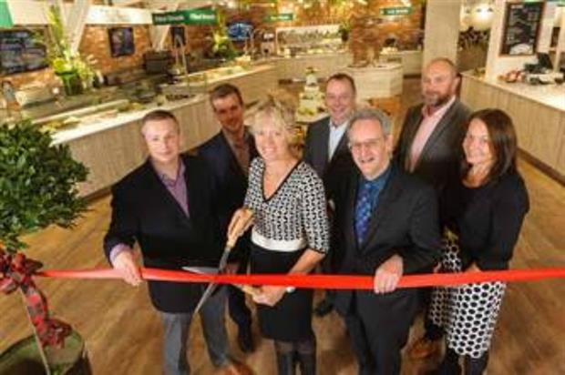 (L-R): The Notcutts team: Tim Betts, Property Projects Manager; Matt Ellis, Staines Garden Centre Manager; Caroline Notcutt, Vice-Chairman; Graham Walker, Regional Manager (South); Michael Cole, Business Development Retail Property Director; Carl Had